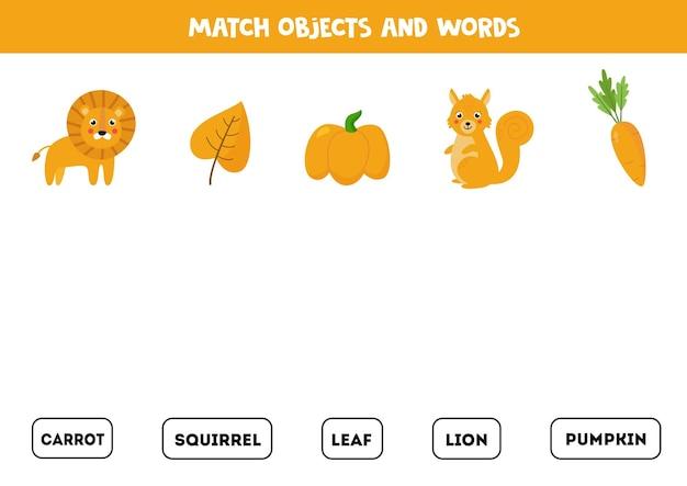 Combine palavras escritas com imagens coloridas em amarelo. jogo educativo de soletração para crianças. Vetor Premium