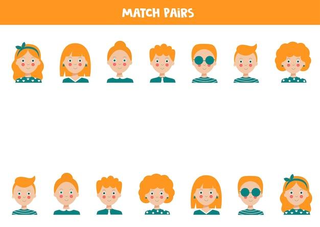 Combine pares de avatares de pessoas jogo de lógica educacional para crianças