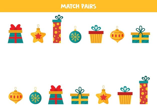 Combine pares de bolas de natal e apresenta lógica educacional para crianças Vetor Premium