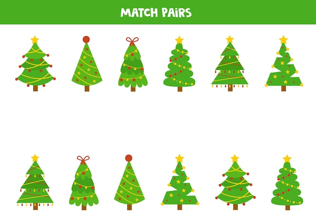 Combine pares de pinheiros de natal. jogo lógico educativo para crianças.