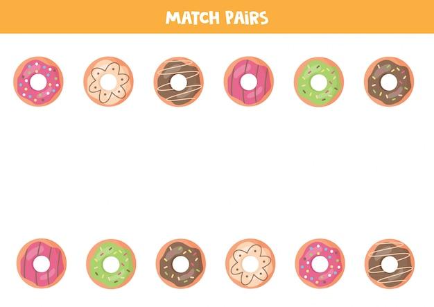 Combine pares de rosquinhas de desenho animado.