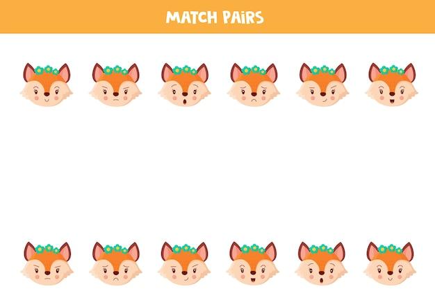 Combine pares de rostos de raposas fofos com emoções jogo lógico educacional para crianças