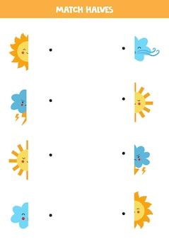 Combine partes de elementos de clima kawaii fofos. jogo lógico para crianças.