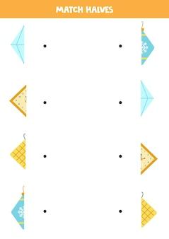 Combine partes de objetos de losango. jogo lógico para crianças.