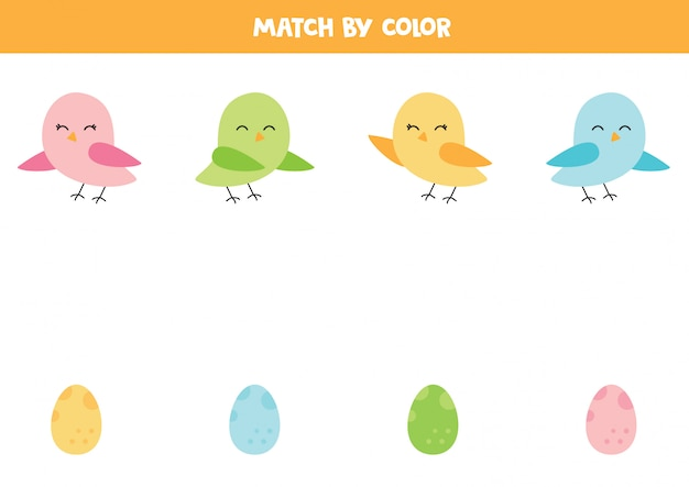 Combine pássaros bonitos e seus ovos por cor.