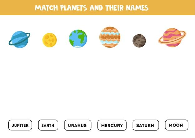 Combine planetas e seus nomes. jogo educativo para crianças. folha de trabalho de leitura para crianças.