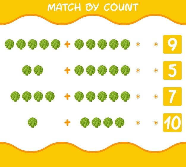 Combine por contagem de alcachofra de desenho animado. jogo de correspondência e contagem. jogo educativo para crianças e bebês antes da idade escolar