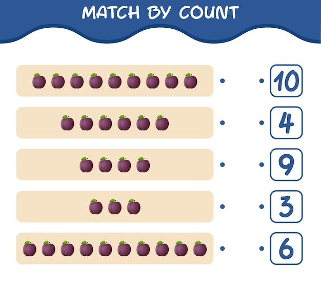 Combine por contagem de ameixa de desenho animado. jogo de correspondência e contagem. jogo educativo para crianças e bebês antes da idade escolar