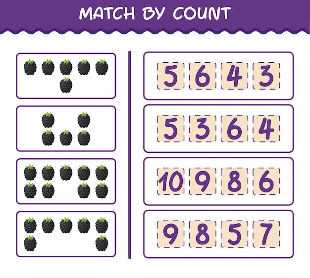 Combine por contagem de blackberry cartoon. jogo de correspondência e contagem. jogo educativo para crianças e bebês antes da idade escolar