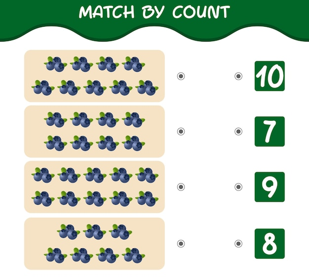 Combine por contagem de blueberries dos desenhos animados combine e conte o jogo jogo educacional para crianças e bebês pré-escolares