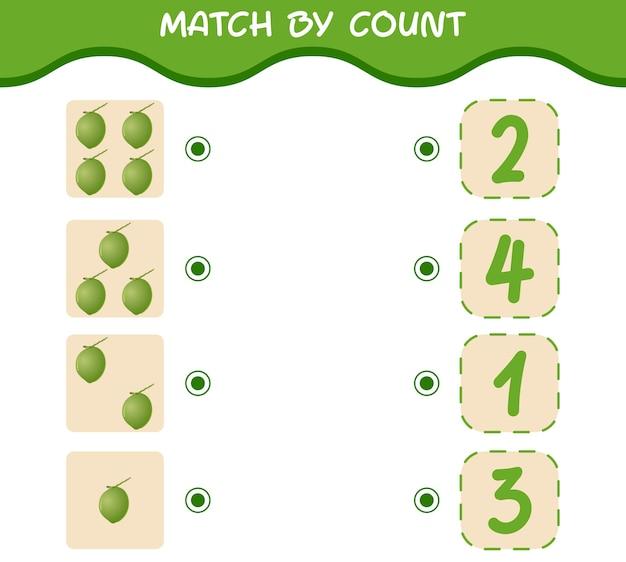 Combine por contagem de cocos de desenho animado combine e conte o jogo jogo educacional para crianças e bebês pré-escolares