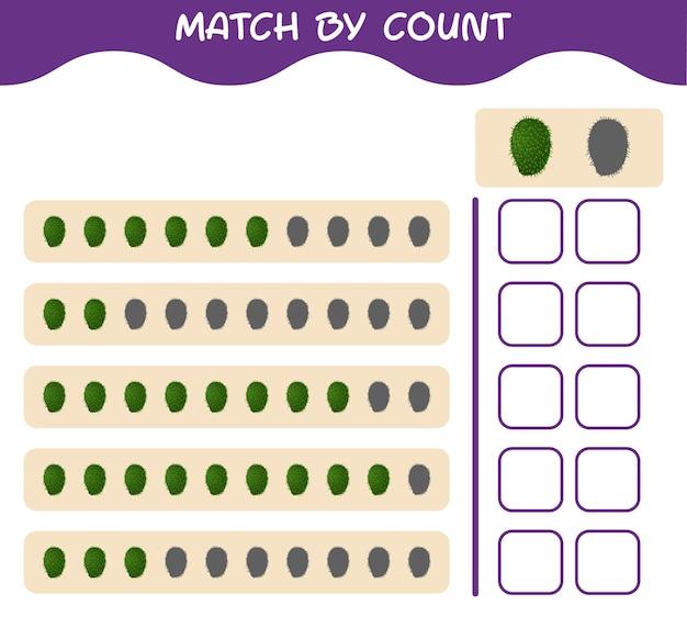 Combine por contagem de graviola de desenho animado. jogo de correspondência e contagem. jogo educativo para crianças e bebês antes da idade escolar