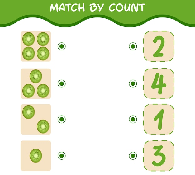 Combine por contagem de kiwis de desenho animado. jogo de correspondência e contagem. jogo educativo para crianças e bebês antes da idade escolar