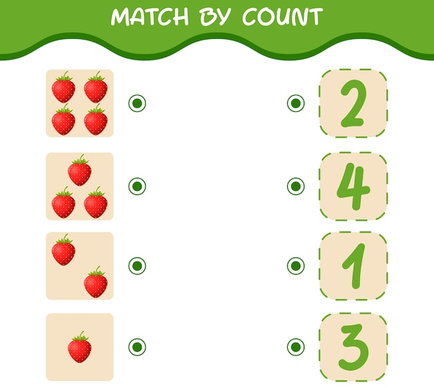 Combine por contagem de morangos de desenho animado. jogo de correspondência e contagem. jogo educativo para crianças e bebês antes da idade escolar