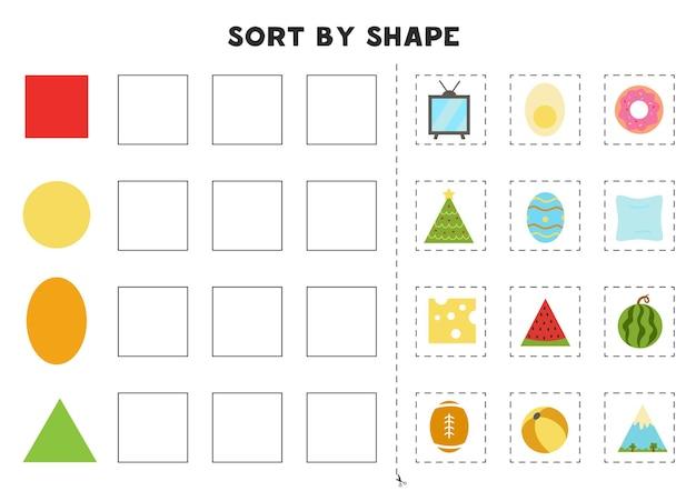 Combine por formas. aprendizagem de formas geométricas básicas. planilha para impressão para pré-escola.