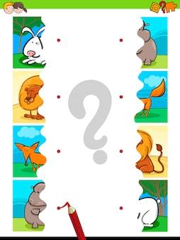 Combine quebra-cabeças de animais dos desenhos animados