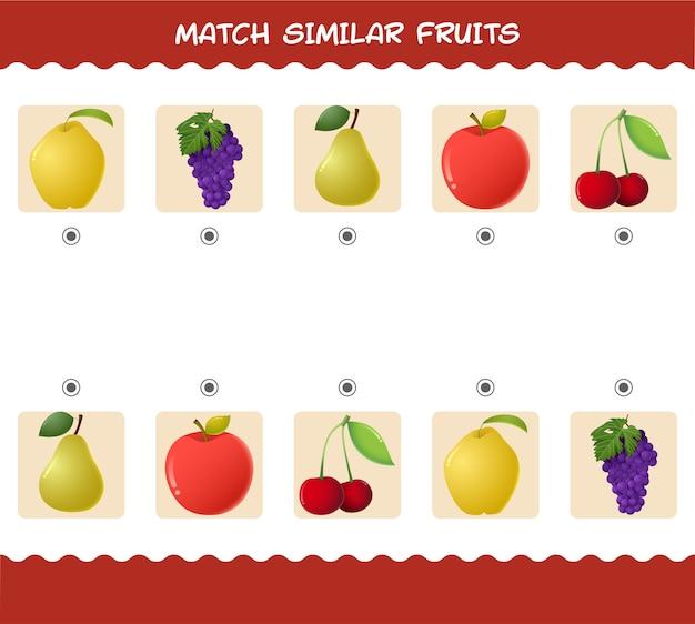 Combine semelhante a frutas de desenho animado. jogo de correspondência. jogo educativo para crianças e bebês antes da idade escolar