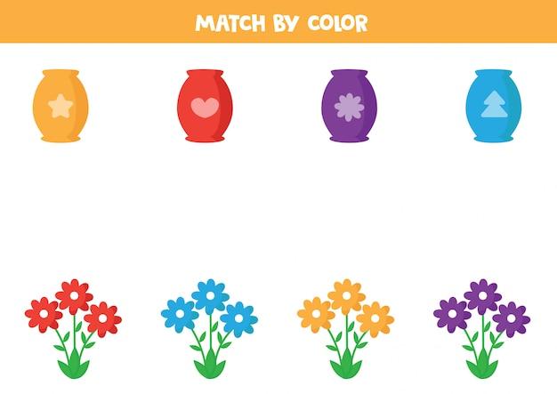 Combine vaso e flores por cor.