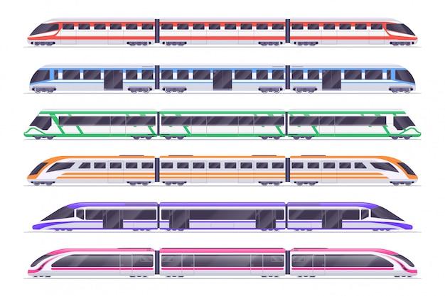 Comboios de passageiros. moderno metrô e trem ferroviário.