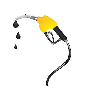 Combustível de gasolina amarelo com gotas sobre vetor de fundo branco