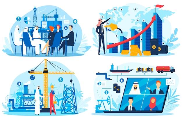 Combustível fóssil de petróleo e gás ilustração em vetor negócios árabes emirados árabes unidos conjunto. personagem plana de empresário árabe do irã, kuwait ou catar, encontrando a indústria de gás de petróleo