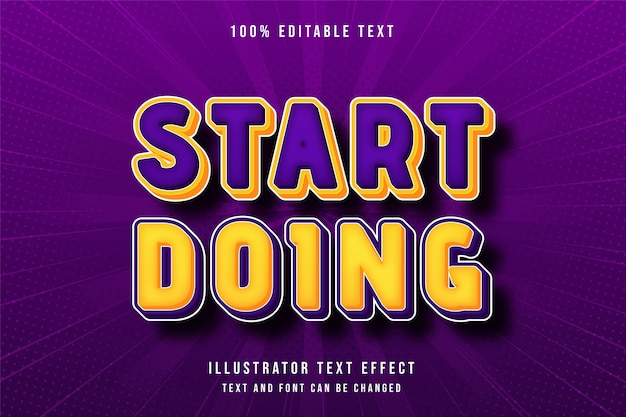 Comece a fazer, efeito de texto editável em 3d gradação amarela laranja roxo moderno estilo cômico
