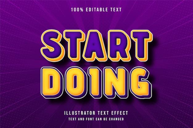 Comece a fazer efeito de texto editável em 3d, gradação de amarelo, laranja roxo, estilo cômico moderno