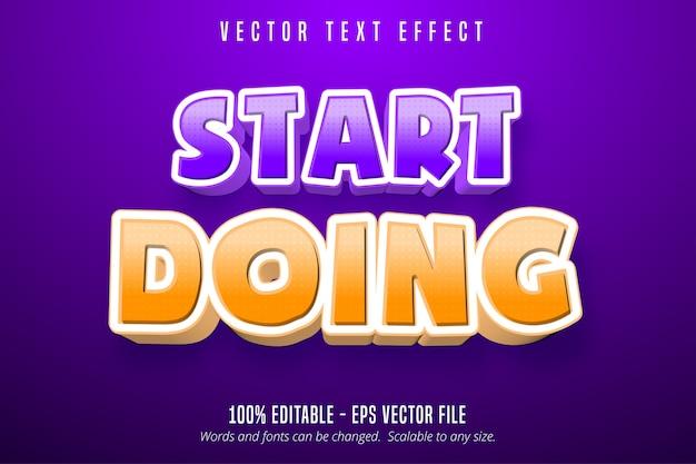 Comece a fazer texto, efeito de texto editável estilo desenho animado