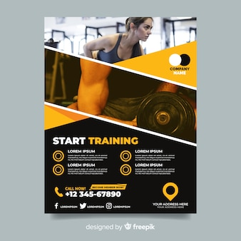 Comece a treinar flyer de esporte com foto