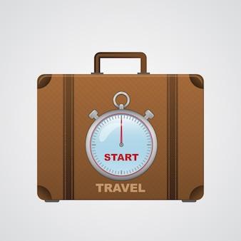 Comece a viagem, mala com ilustração de cronômetro em fundo branco