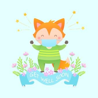 Comece bem a mensagem com caráter bonito da raposa Vetor grátis