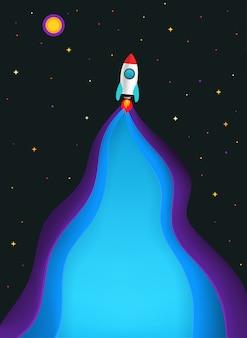 Comece. ilustração com foguete de velocidade