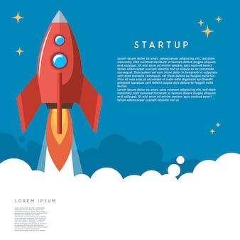 Comece. ilustração de lançamento de foguete em estilo cartoon. imagem