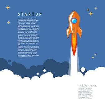 Comece. ilustração de lançamento de foguete em estilo cartoon.