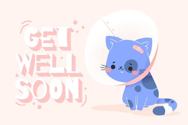 Comece logo a mensagem com o gato bonito ilustrado