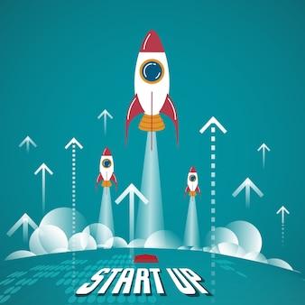 Comece o conceito de negócios. novos negócios nascidos neste planeta.