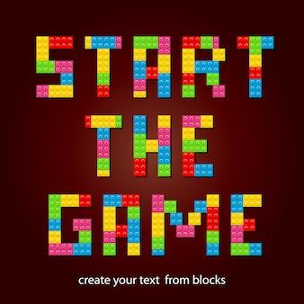 Comece o jogo, crie seu texto a partir de blocos de construção