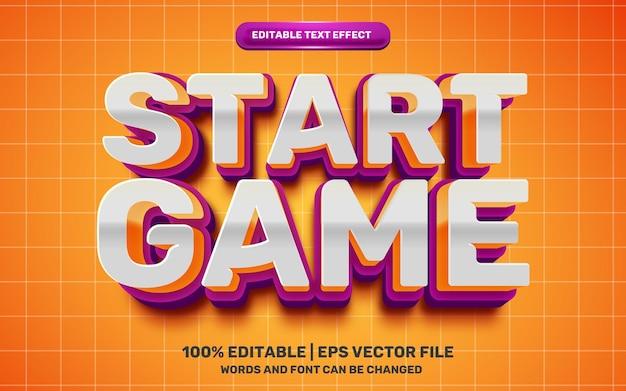 Comece o jogo kids cartoon comic hero efeito de texto editável em 3d