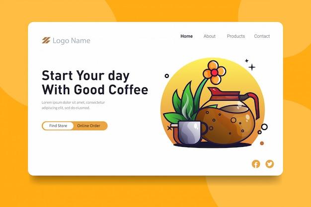 Comece o seu dia com um bom conceito de página de destino para café