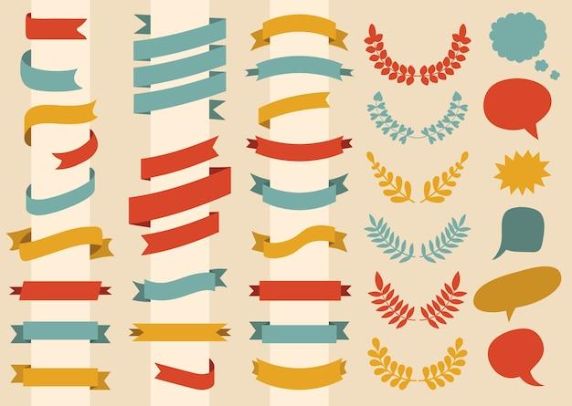 Comece um conjunto de fitas, coroa de louros e balões de fala em estilo simples.