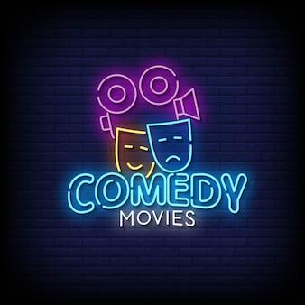 Comédia filmes vetor de texto de estilo de sinais de néon