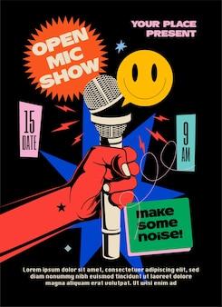 Comédia noturna de microfone aberto levante-se mostrar cartaz ou folheto ou modelo de design de banner com a mão segurando o microfone aberto e composição de elementos brilhantes em fundo preto.