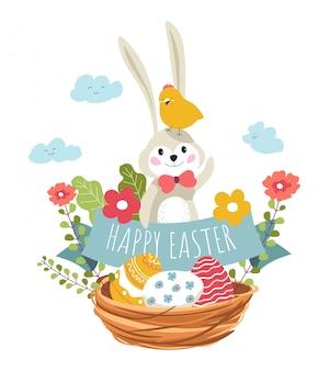 Comedor feliz, coelho e pássaro sentado na cesta de tecido