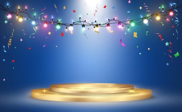 Comemoração com ilustração de confete