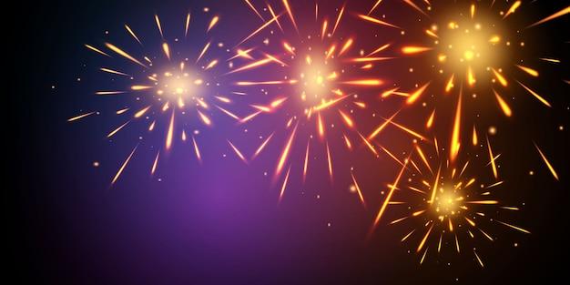 Comemoração com tema de fogos de artifício e natal