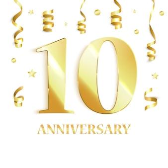 Comemoração de 10 anos. ilustração vetorial