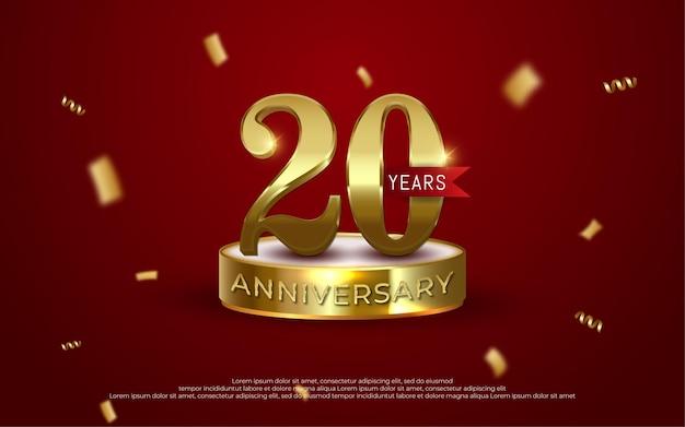Comemoração de aniversário decoração de luxo dourado número 20 fundo vermelho 01