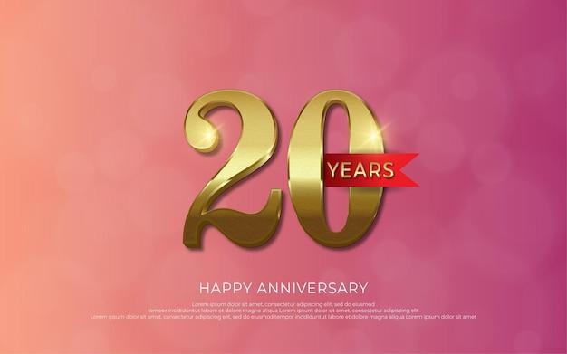 Comemoração de aniversário decoração de luxo número dourado 20 01