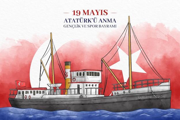 Comemoração de ataturk, dia dos esportes e da juventude em aquarela pintada à mão