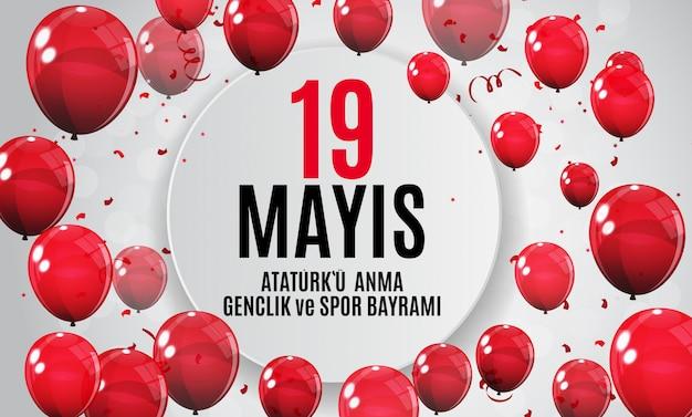 Comemoração de ataturk, juventude e bandeira do dia dos esportes